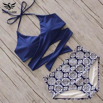 ba73210b4 NAKIAEOI 2019 Sexy Cruz Bikini mujeres traje de baño de alta cintura traje  de baño Bikini Top Halter de playa trajes de baño nadar desgaste