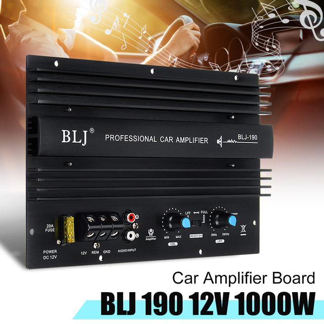 Cheap 12V 1000W 105dBA Mono Car Audio High Power Amplifier Amp Board Powerful Bass Subwoofer Power Connection Electric Components