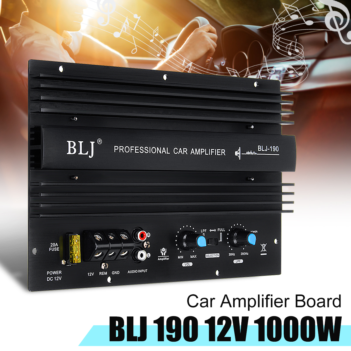 12V 1000W 105dBA Mono Car Audio High Power Amplifier Amp Board Powerful Bass Subwoofer Power Connection Electric Components