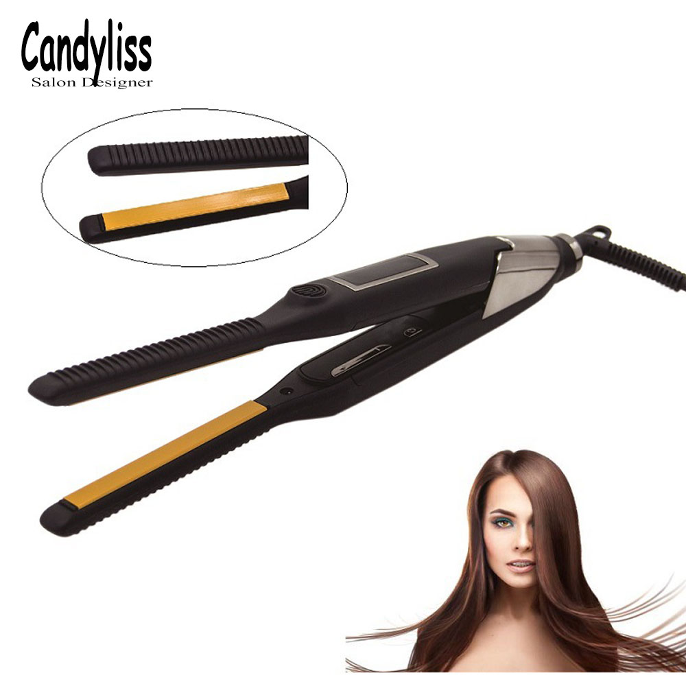 2 in 1 Hair Straightener + Curler Professional Hair Curling iron Straightening Flat Irons Salon Styler Styling Tools 2018 New led display floating spray steam hair straightener hair flat iron curler curling irons ceramic straightening plate styling tools