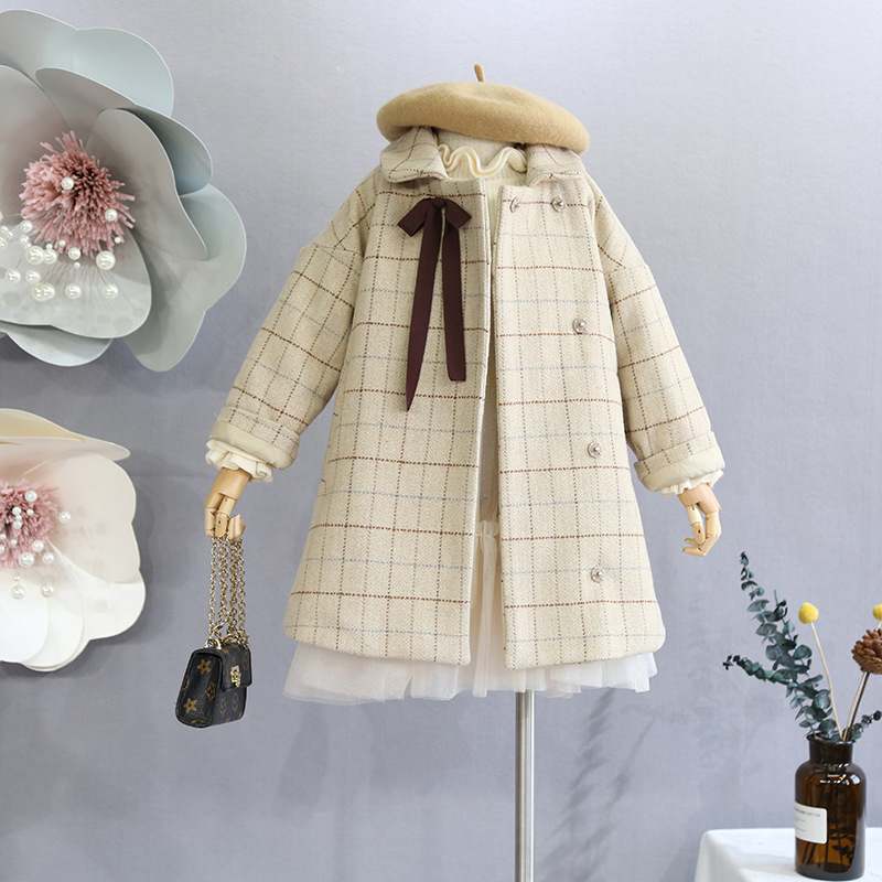 Children's clothes children's wool coat 2018 winter new girls quilted thick Korean version of the children's lapel coat lapel pea coat in wool blend
