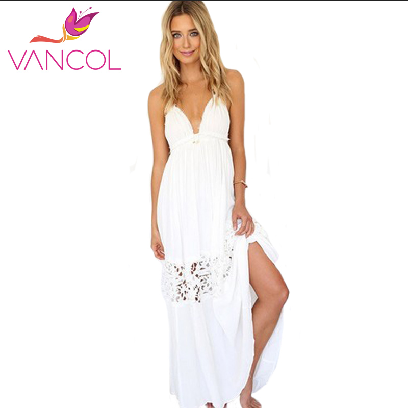 Vancol 2016 women summer dress wedding halter backless v for Womens summer dresses for weddings
