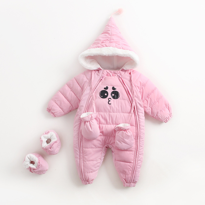 2017 Winter Baby Thick Warm Rompers Pink Coverall Hooded Romper Jumpsuit Baby Girl Boy Snowsuit Coat Children Outfits Baby Wear kikikids girl baby summer romper short sleeve jumpsuit happy face boys romper infant clothes new born boys fashion kids clothing