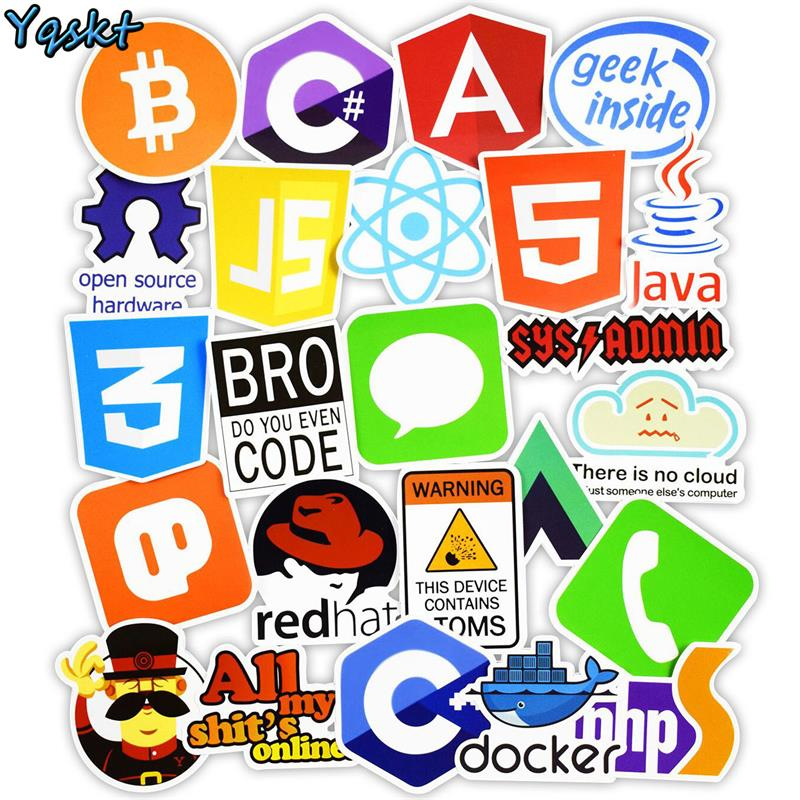 US $2 99 |50 Pcs Internet Java JS Php Html Cloud Docker Bitcoin Programming  Language APP Logo Cool Stickers for Laptop Car DIY Stickers-in Stickers