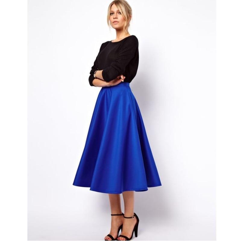 Modest Royal Blue Tea Length Satin Skirts For Women Elegant Office Lady Skirt Female Saias High Quality Custom Made Bottom