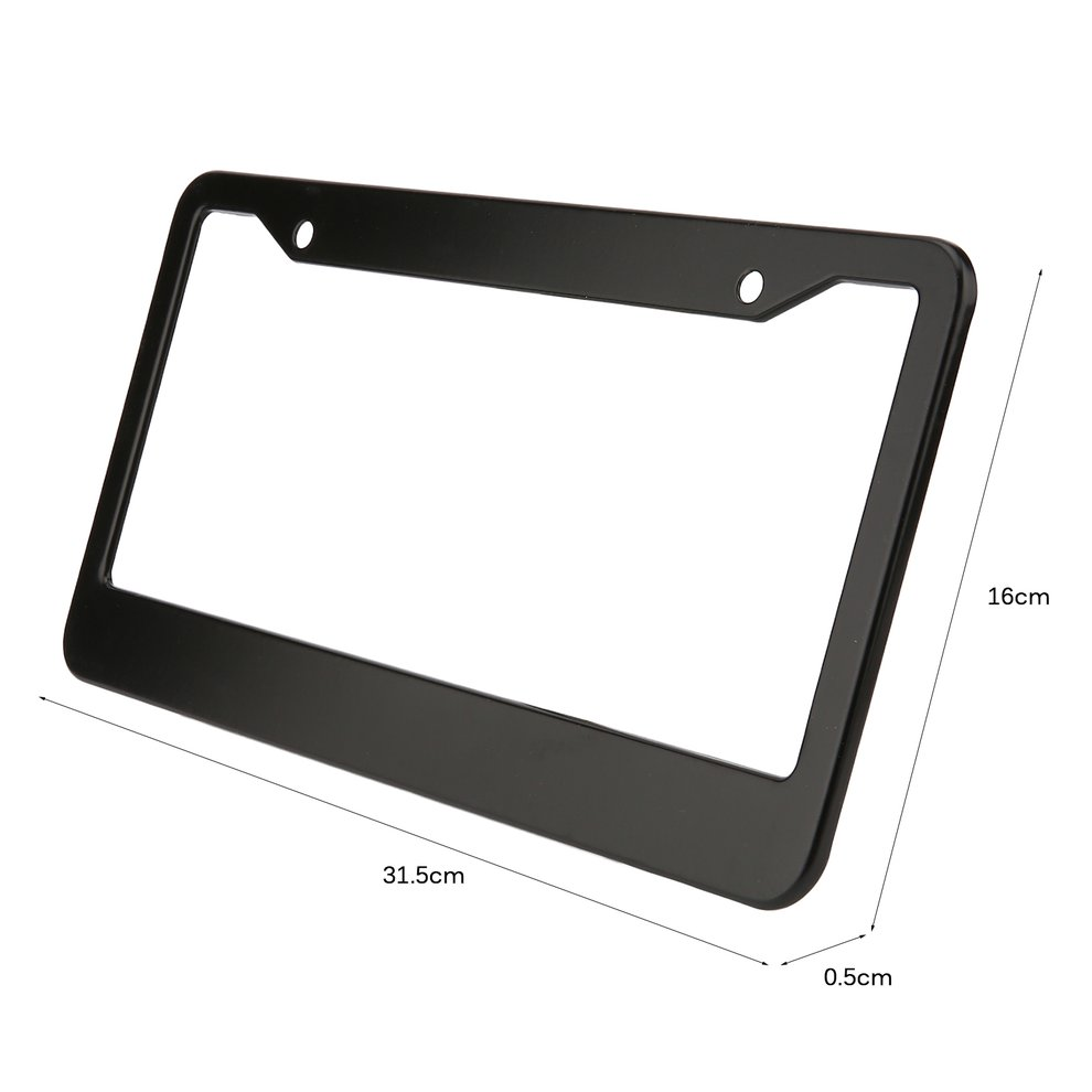 2pcs Black Aluminum Alloy Car Auto Vehicles License Plate Frame Tag Cover Holder With Screw Caps Car Styling