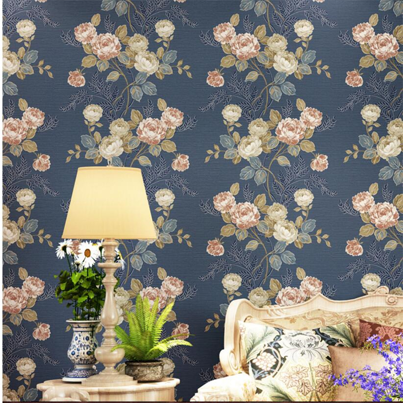 beibehang rural dark blue pastoral big flower non-woven wallpaper living room bedroom sofa background wallpaper papel de parede pastoral large flower wallpapers 3d stereoscopic non woven embossed wallpaper for living room bedroom home decor papel de parede