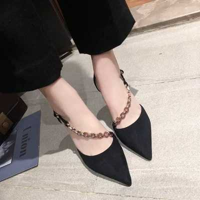 2019 spring new high heels fashion pointed rhinestone metal chain word buckle single shoes female fine with shallow mouth-1