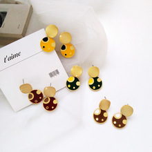 Trend personality fashion accessories wholesale Japan and South Korea simple geometric round colorful spot women earrings цена 2017