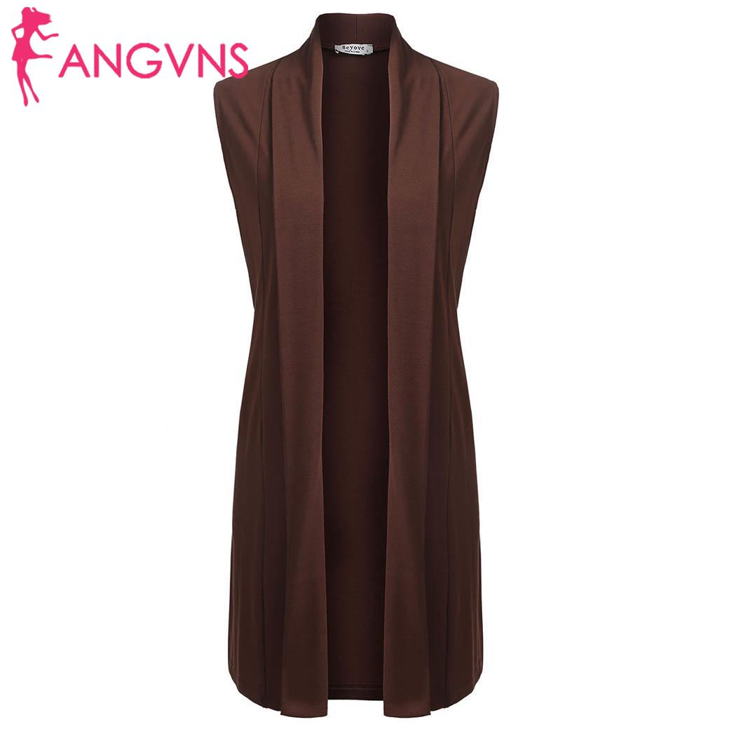 ANGVNS Long Sleeveless Open Front Split Solid Casual Women Cardigan with Pocket ...