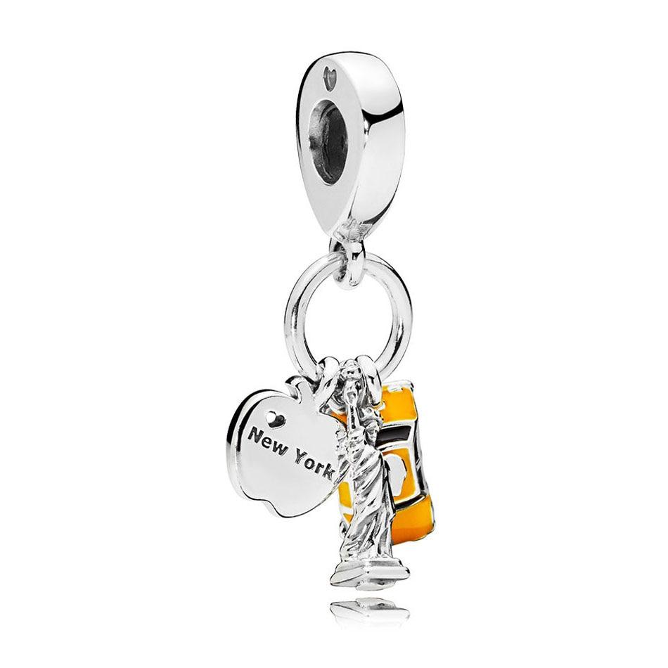 731f709a5 925 Sterling Silver Pendant Bead Charm fit Pandora Bracelet Bangle New York  Highlights Dangle Charm Black