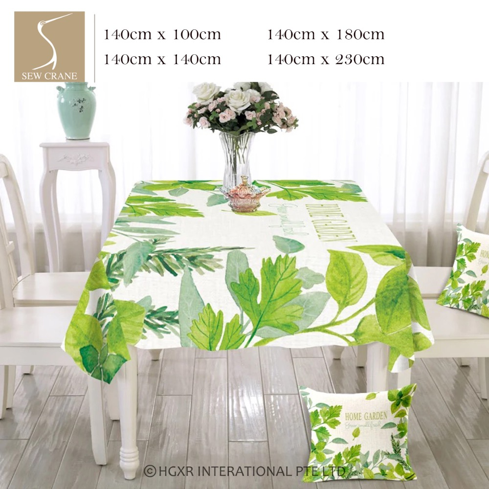 High Quality SewCrane Home Garden Spring Foliage Green Leaves Cotton Linen Tablecloth(China  (Mainland))