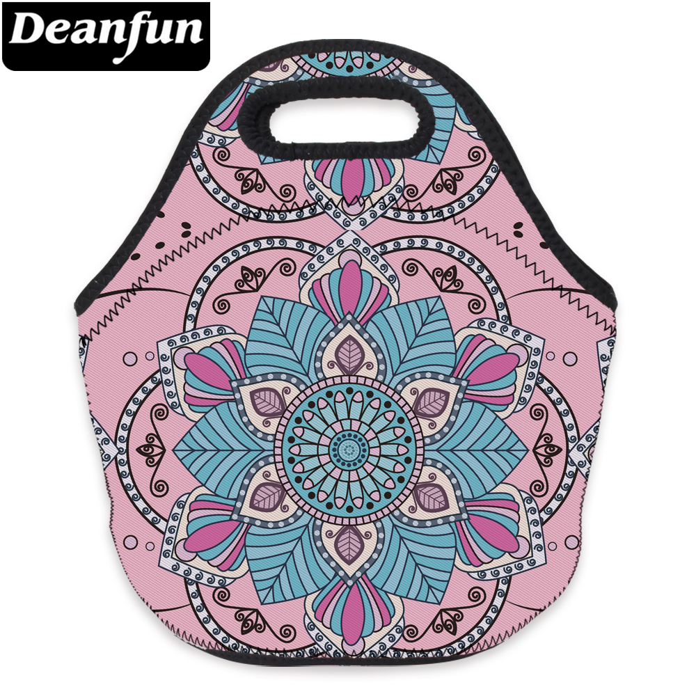 Deanfun Women Lunch Bag 3D Printed Mandala Flower Pink Waterproof Neoprene Fashion for Travelling 73091 3d printed mandala beach throw