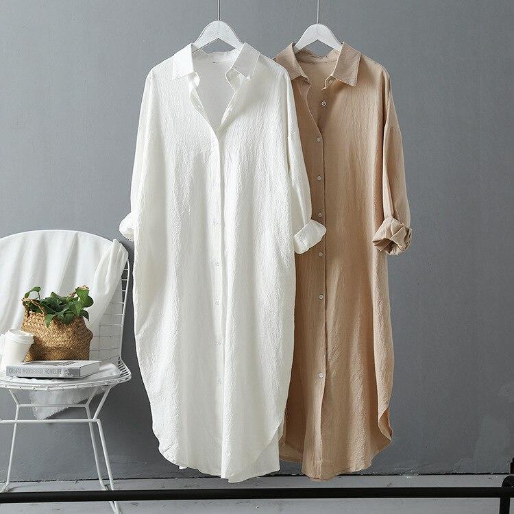 2019 Nova Mulheres Long Blusa Branca Turn Down Collar Boho Verão Partes Superiores das mulheres E Blusas Mulheres Camisas Blusas Roupa Feminina roupas