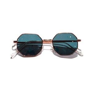 2019 Retro polygon sunglasses Men Women Luxury pink Lens Round Sunglasses Vintage Small frame Mirror color sunglasses(China)