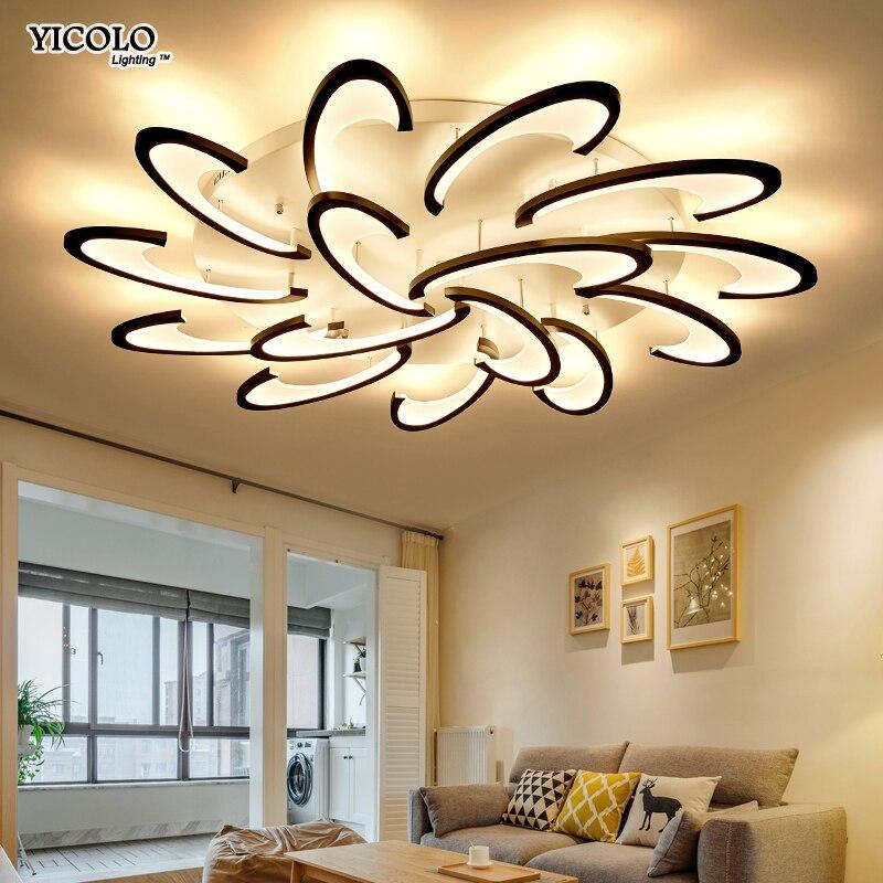 Черный белый корпус светодио дный светодиодные люстры для гостиной акрил Lampara de techo современная люстра лампа для дома освещение