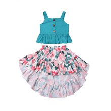 Toddler Kids Baby Girl Summer Outfits Clothes Sleeveless Strap Tops Floral Skirt 2PCS Set 2019