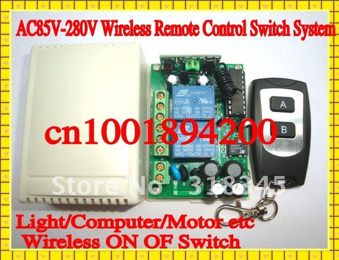 85V-280V 2CH RF wireless remote control switch system(1transmitter&1receiver)  Light/LED/Computer/Motor any applicance ON OFF ac220v rf wireless remote control light lamp switch system 1receiver