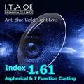 1.61 Índice de Lente Anti Luz Azul Violeta Óculos de Prescrição Óptica Para O Revestimento de Escritório Trabalhador Computador Eyewear Com 7 Função