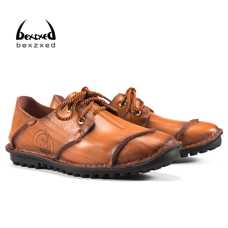 Bexzxed 2017 Hot Sale Handmade Genuine Leather Male Shoes Slip On Casual Shoes For Men Loafers Male Moccasins Flat Shoes men s genuine leather casual shoes handmade loafers for male men waterproof flat driving shoes flats