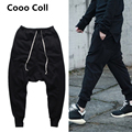 Men's Rick Low crotch harem Black booty recreational beam low-waist pant hip-hop RO Sytle Black Kanye West Pants Cooo Coll