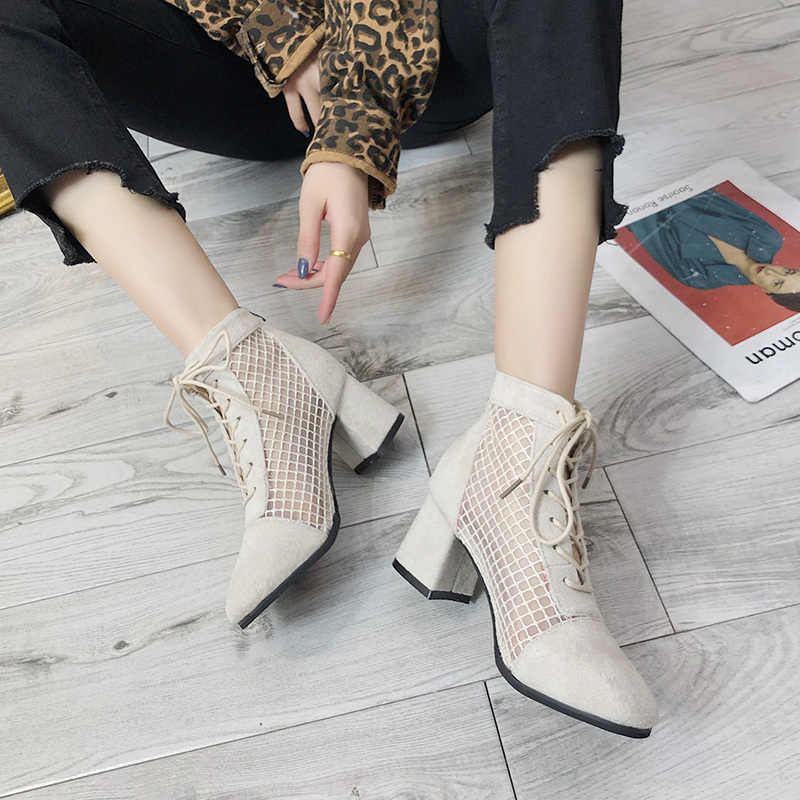 HEE GRAND Shoes Woman Summer Sandals Boots Women Mid Heels Lazy Shoe Lace Up Sexy Pumps Cross Tied Fashion Casual Shoes XWX7334