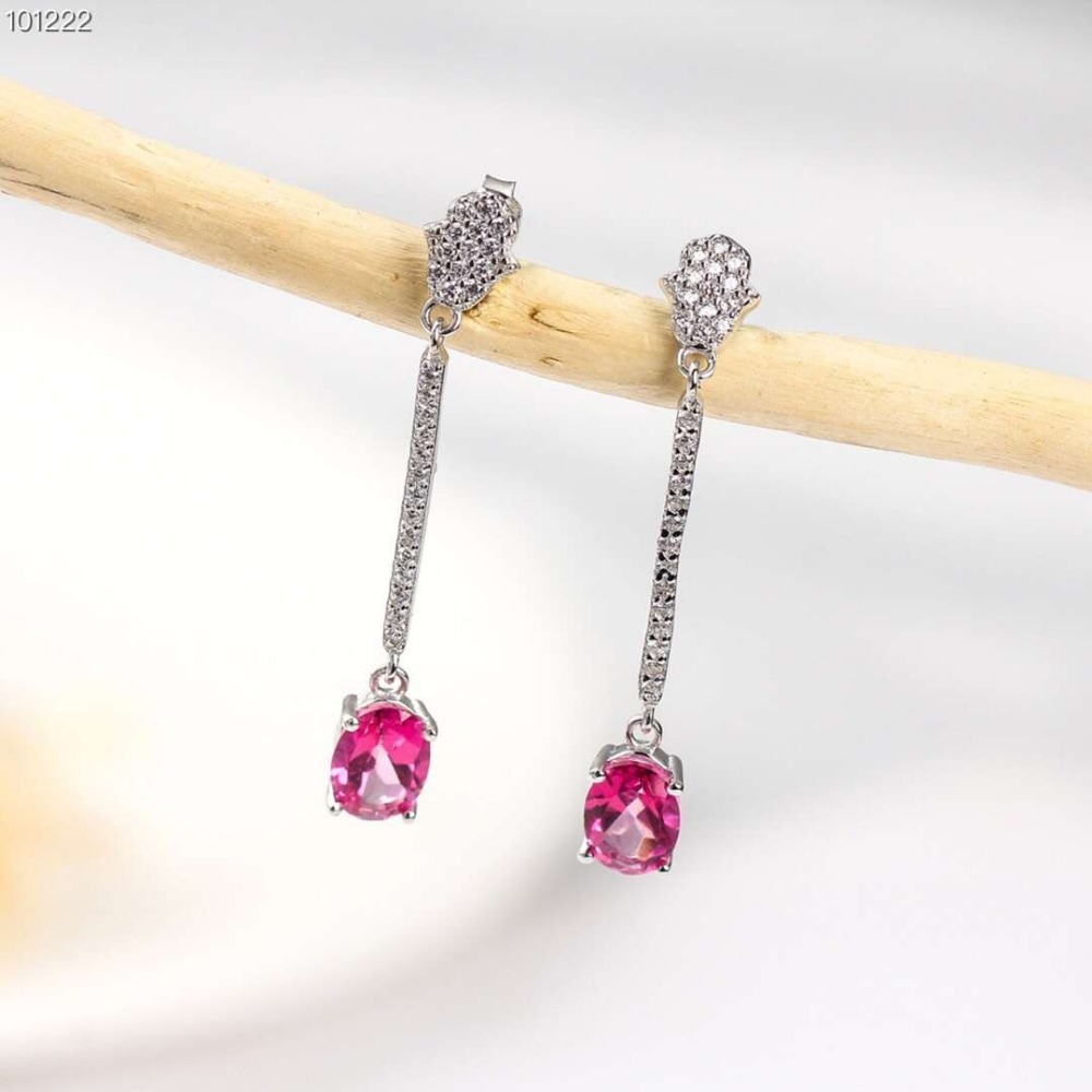 hot sale gold plated 925 sterling silver gemstone jewelry natural pink topaz crystal earrings for women