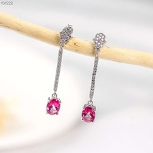 hot sale gold plated 925 sterling silver gemstone jewelry natural pink topaz crystal earrings for women natural pink topaz stone drop earrings 925 silver natural gemstone earring women elegant personality drop earrings for party