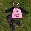 Ropa del bebé del invierno diseño del cliente kids boutique soy intentó roseo top girls lentejuelas negro pantalón de collar y diadema set