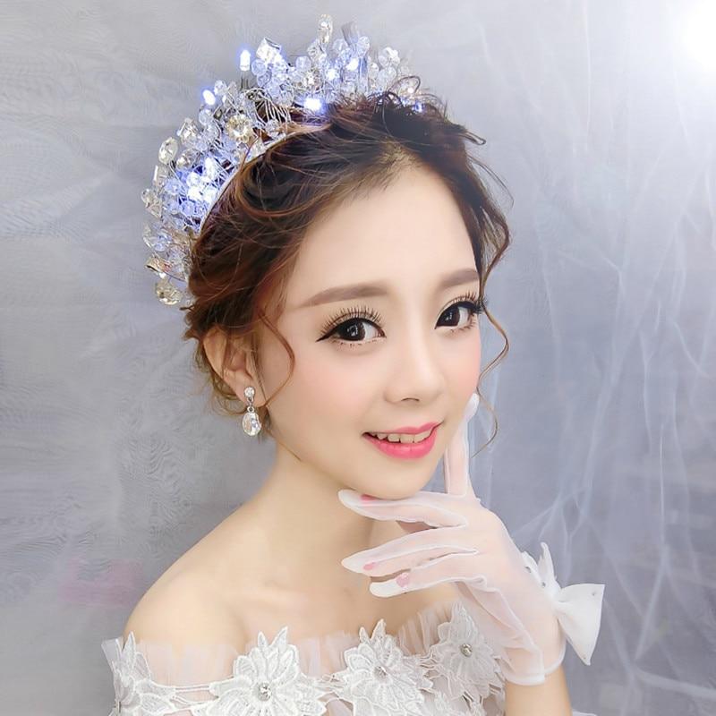 Princesa Corona Fiesta de Matrimonio Adornos Para el Pelo Con Cristales de  Luz Brillante Diadema Nupcial Pelo de La Boda Accesorios Velos De Novia en  ... d14209450474
