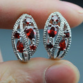 Top Quality Created Red Garnet Hoop Earrings For Women Silver Color Jewelry  Lovely Jewelry Box Made in China