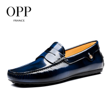 OPP 2017 Cow Leather Shoes Casual Slip on Driver Shoes Natural Cow Leather moccasins New Summer Mens Shoes Loafers For Men