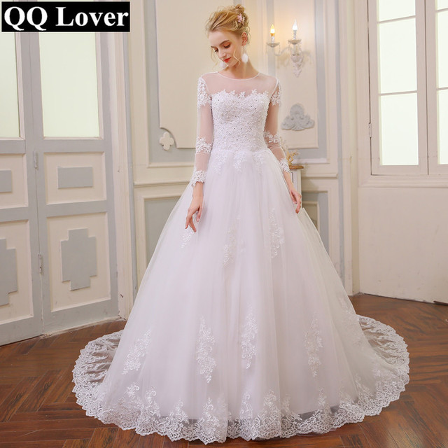 Wedding Dress Vintage Bohemian Lace Long Sleeve Ball Gown Wedding ...