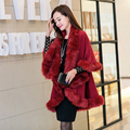 Scarves, shawls, stoles 2016 winter women's luxury fur cloak sweater female knitted outfit new batwing fur coat poncho 7 colors