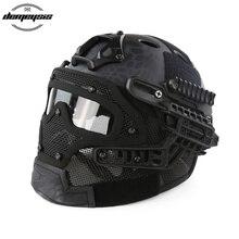 Tactical Helmet with Mask Airsoft Helmet Paintball Fullface Protective Face Mask Helmet for Sports CS Military Helmet