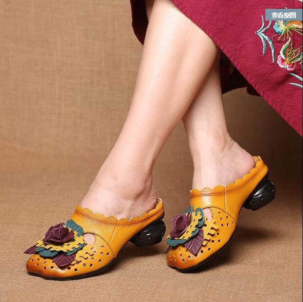 Новые летние модели Шлёпанцы для женщин Пояса из натуральной кожи босоножки на каблуках Для женщин ручной работы удобные Для женщин без каб...