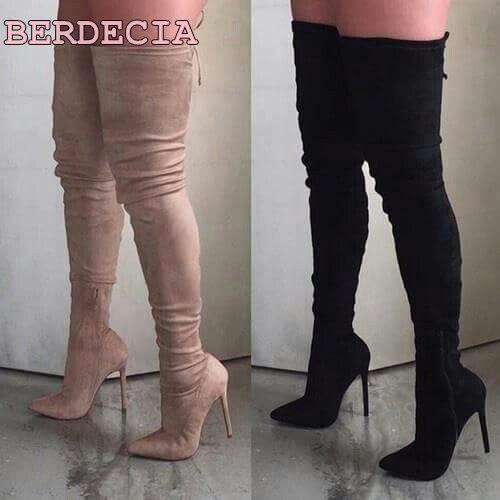 Camoscio nero punta a punta stivali tacco a spillo sopra il ginocchio alto  stivali moda real fabbrica fotografia donna scarpe tacco alto stivali  lunghi in ... 0f8bcc62ea0