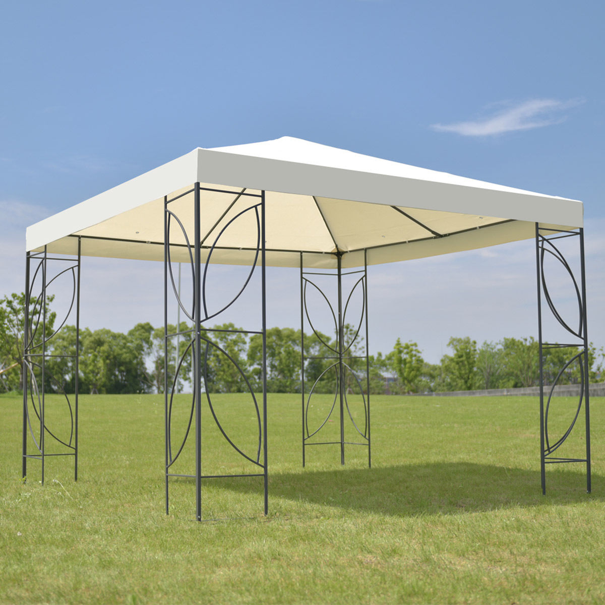 Goplus Patio 10 'X10 'Square Gazebo Canopy Tent Waterproof Steel Frame Shelter Awning with Beige Cover OP3115BE esspero canopy