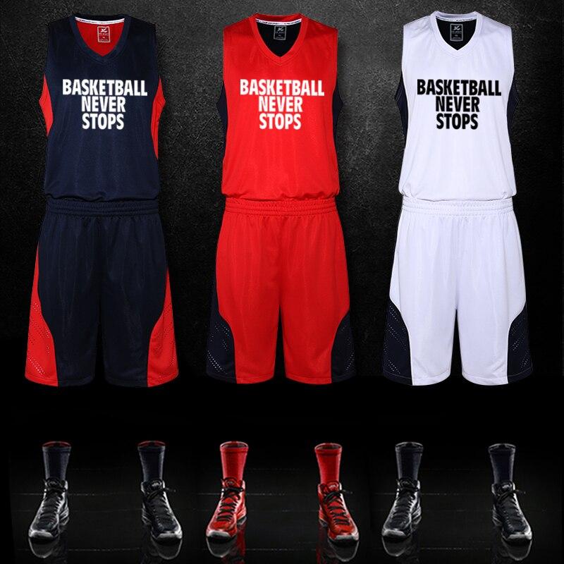 Prix pour Basket-ball Homme Ensemble Jersey + Shorts Fitness Garçon Breathble Rapide sec Sport Basket-Ball Masculin Chemises Costume Personnalisé LOGO Plus La Taille M-5XL