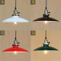 Loft Retro Industrial Iron Vintage hanging light knob switch lustre Pendant Lamp Fixture black white green red lampshade shade