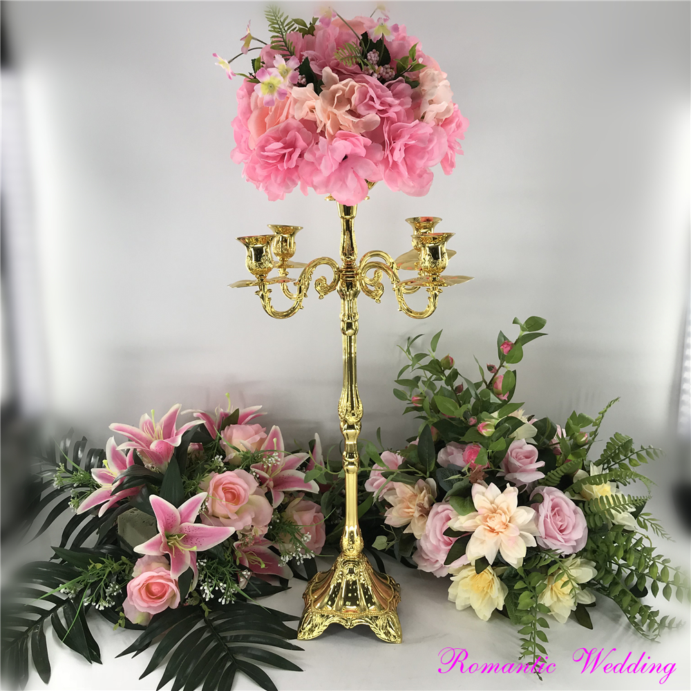 Noble Stunning Metal Gold Candelabras With Carving Arms Big Flower Bowl On Sale for Wedding party event home decoration
