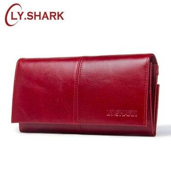 008fdd2a553d LY. акула красный кожаный кошелек женский натуральная кожа визитница женская  для карточек клатч женский бумажник