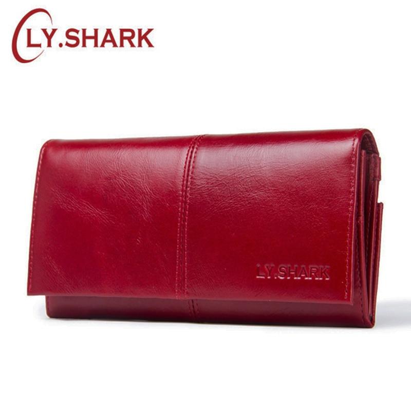 LY. tiburón billeteras para mujer Marca de lujo larga Cartera de cuero genuino mujeres monedero señoras Cartera de tarjeta de crédito holder walet rojo mujeres embrague dinero bolsa