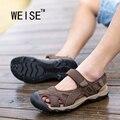 La Primera Capa De Sandalias de Cuero De Verano Sandalias Casuales Para Hombre Zapatos de Aguas Arriba de Playa Masculino Código Baotou Cuero de Los Hombres sandalias