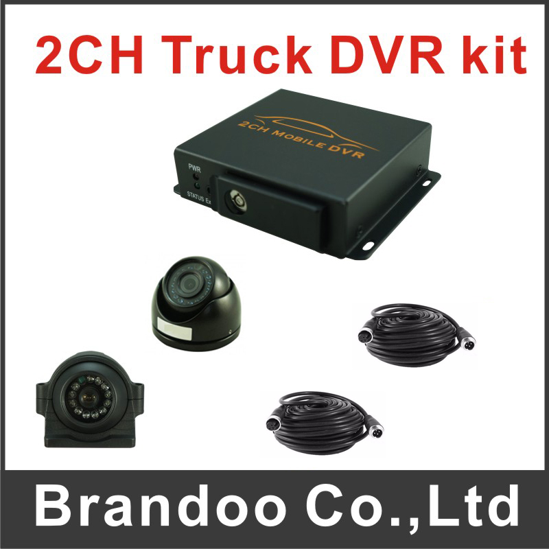 2CH truck bus taxi fleet MDVR kit with 1pcs night vision inside camera and 1pcs night vision waterproof camera ,free shipping