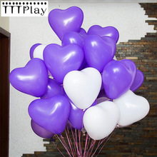 10pcs Romantic 12 Inch 2.2g Purple Love Heart Latex Balloon Inflatable Air Balls Valentines Day Wedding Decoration Party Balloon