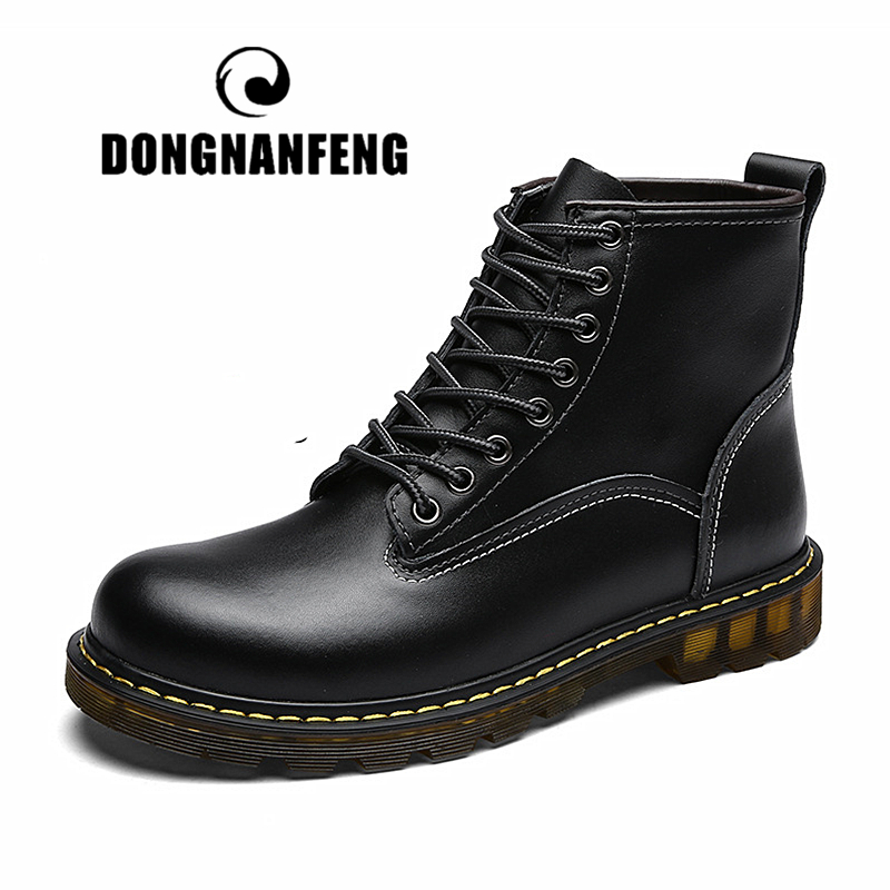 DONGNANFENG Men's Male Cow Genuine Leather Casual Retro British Shoes Boots Winter Ankle Lace Up Plush Spring 38-44 ASL-89027