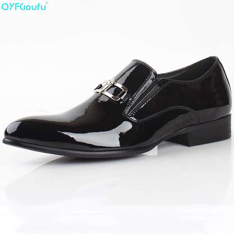 Handmade Patent Leather Oxfords Shoes Black Mens Dress Genuine Business Formal Wedding