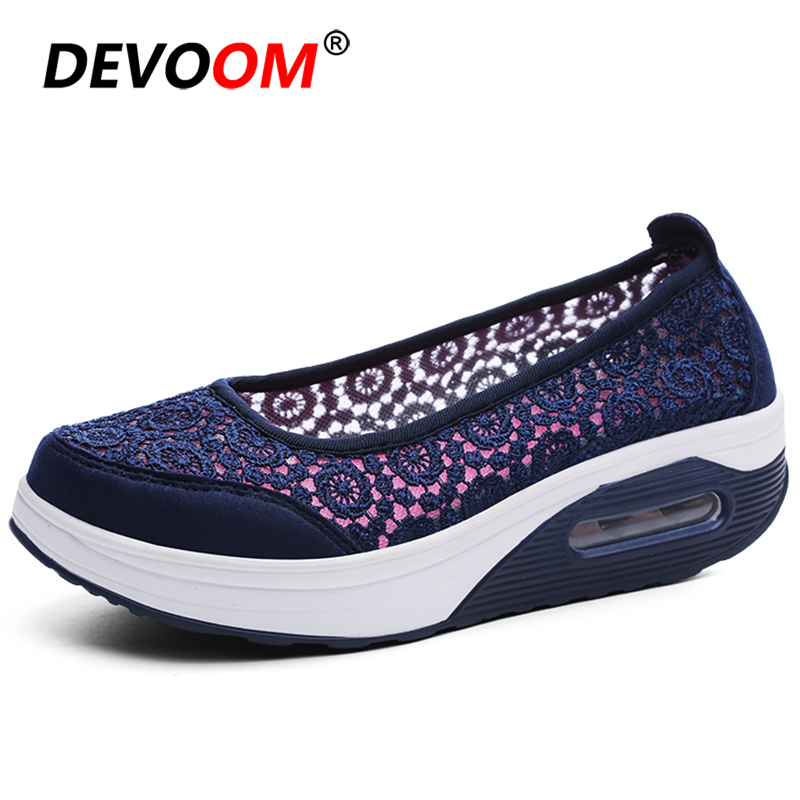 Women Walking Shoes Mesh Air Cushion Sneakers Women Flat Mother's Work Female Shoes Slip-on Sport Shoes Woman zapatillas <font><b>mujer</b></font> image