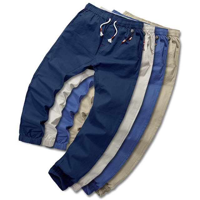 Algodón Para Hombre Chándal Hombre marca Pantalones Pantalones Elásticos de la ropa de Los Hombres pantalones cargo hombres Basculador pantalones de lino hombres